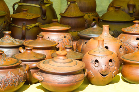 ewer: pottery. pots, dishes, and other articles made of earthenware or baked clay. Pottery can be broadly divided into earthenware, porcelain, and stoneware.