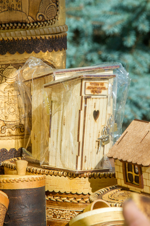 birchbark: texture, background. Handicrafts made of birch bark. On the product it is written: honey, sugar, flour, salt, tea, coffee. the impervious bark of the North American paper birch, Betula papyrifera, used,