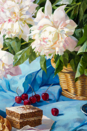 Texture, background. The picture painted in oils. breakfast, tea with scones and muffins, cherry