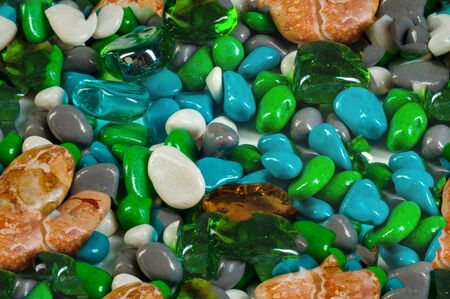 pebbles: Texture, background, seamless pattern. This is useful for designers. sea pebbles. aquarium. Artificial pond or a glass box with water for storage of fish, aquatic plants and animals. Stock Photo