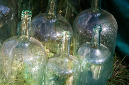 linctus: texture, background. old bottles