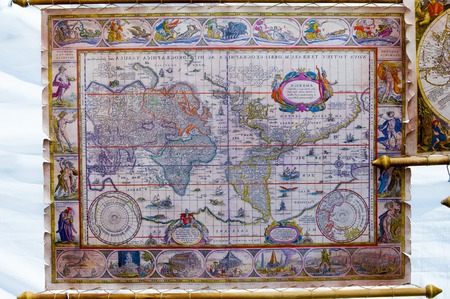 texture, background. Figure historic map of the world. polygraphy