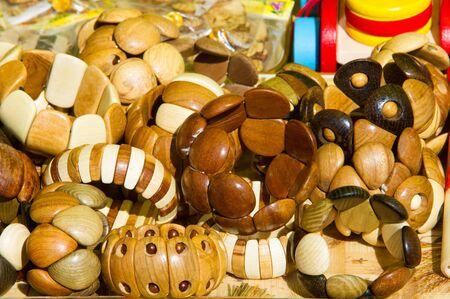 Bracelets of precious wood Stock Photo