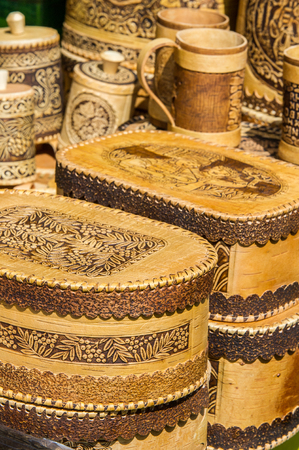 texture, background. Handicrafts made of birch bark. On the product it is written: honey, sugar, flour, salt, coffee. the impervious bark of the North American paper birch, Betula papyrifera, used,