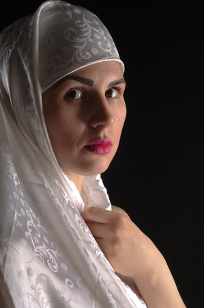 The girl in a hijab, a Muslim woman, girlfriend Stock Photo