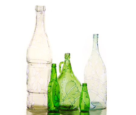 botellas vacias: empty bottles. Photo in studio