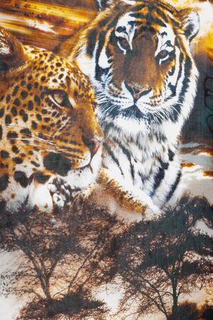 mottle: Silk fabric texture. Tiger safari.   Photography Studio Stock Photo