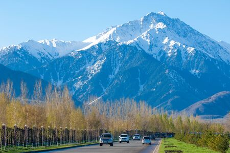 10, 03, 2015 Almaty, Kazakhstan, Street Al Farabi, Tien Shan Mountains, Early Spring. Editorial