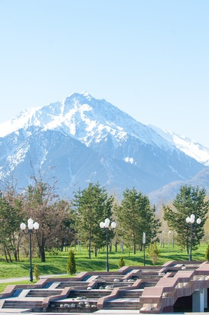 Kazakhstan, early spring. Park of the first president of the country. Central park at sunny day. beautiful green park Stock Photo