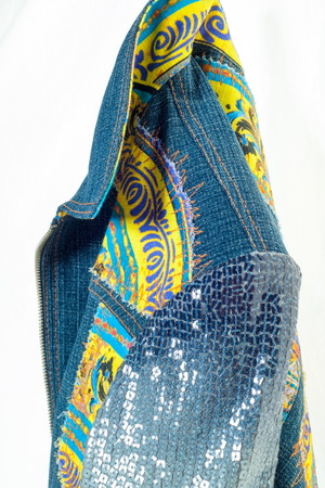 Denim jacket handmade. Photographed in the studio