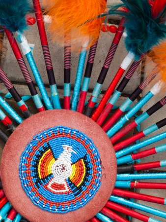 native american indian chief headdress. detail feather and dream catcher. decoration Redskins Stock Photo