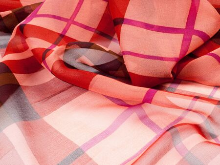 polyester: Silk fabric texture. red cell.   Photography Studio