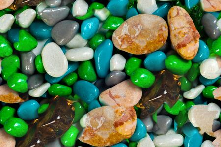 pebbly: Texture, background, seamless pattern. This is useful for designers. sea pebbles. aquarium. Artificial pond or a glass box with water for storage of fish, aquatic plants and animals. Stock Photo