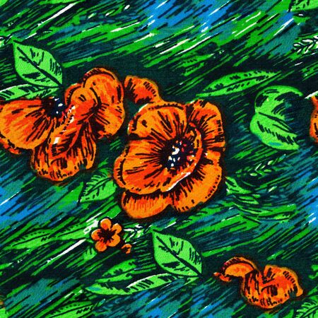 Texture, background, seamless pattern. This is useful for designers. flowers roses painted on fabric