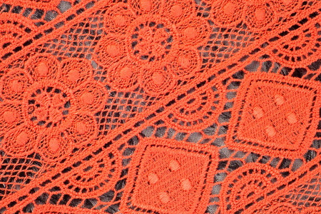 ornamentations: Red lace fabric texture Photo taken in the studio