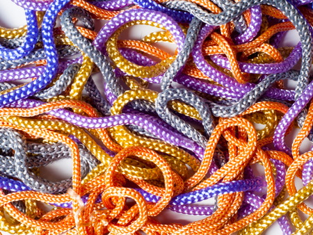 laces texture. wo lined boot laces on white background.  laces of different color isolated on white. Shoelaces. Multicolored shoelaces background
