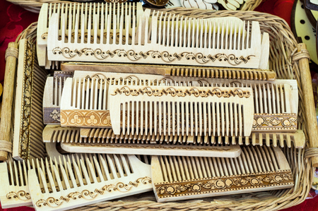 personal grooming: wooden combs. Comb hair combing. a strip of plastic, metal or wood with a number of narrow teeth, used for unraveling or arranging hair.