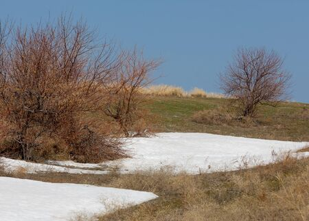 Last Snow Gives Way to Spring. Spring landscape with a creek. Melting snow in the mountains last Stock Photo