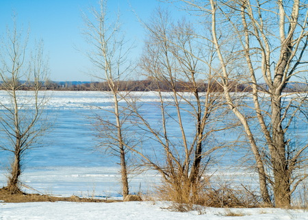 tatarstan: River flood. Torn river ice. River with the last ice. Russia Tatarstan Kama river in early spring