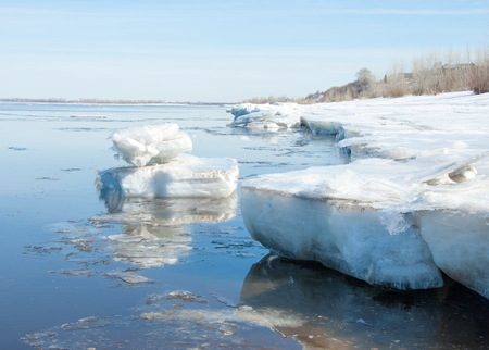 tatarstan: Spring flooding, ice water, Early spring on the river. Russia Tatarstan Kama river in early spring Stock Photo
