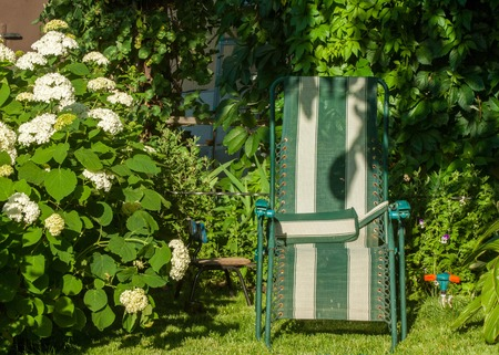 upholstered: portable chair in the garden, comfortable chair, typically upholstered, with side supports for a persons arms.