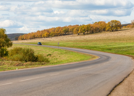 blacktop: State Highway. Road stretching into the sky