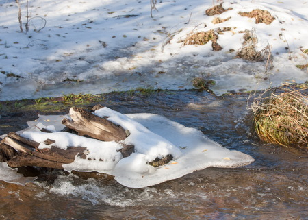 Streaming water in a small river at early springtime. Spring scene.  Mountain landscape with a frozen creek