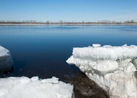 Spring flooding, ice water, Early spring on the river. Russia Tatarstan Kama river in early spring Stock Photo