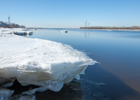 ice floe: Spring flooding, ice water, Early spring on the river. Russia Tatarstan Kama river in early spring Stock Photo