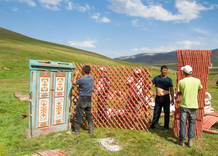 ethnographic: Kazakhstan in July 2014 construction of the yurt. a circular tent of felt or skins on a collapsible framework, used by nomads in Mongolia, Kazakhstan, and Turkey.