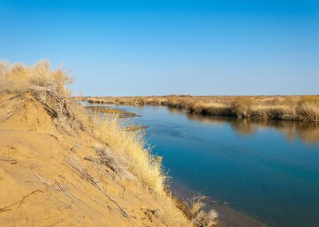 riverbank: river in spring steppe. riverbank overgrown with reeds. water is pure emerald Stock Photo