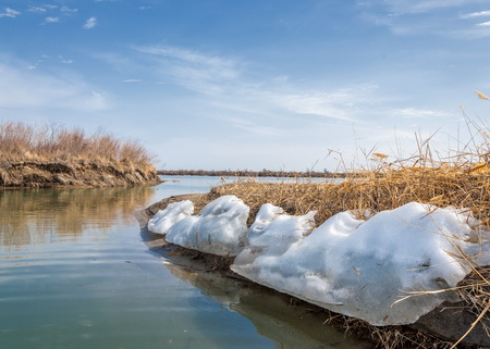 ice floe: river last ice. Last ice-floe. last needle ice on the Ili River. Central Asia, the steppes of Kazakhstan