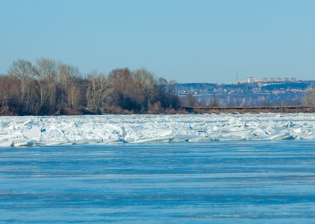 ice floe: River flood. Torn river ice. River with the last ice. Russia Tatarstan Kama river in early spring