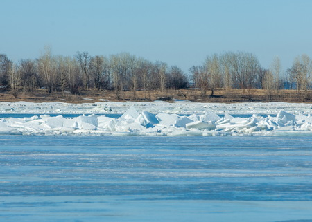 River flood. Torn river ice. River with the last ice. Russia Tatarstan Kama river in early spring