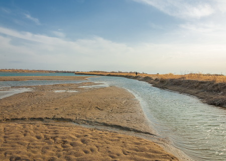 outdoor fireplace: river spring. spring river in Central Asia. Kazakhstan steppe river Semirechye. Stock Photo