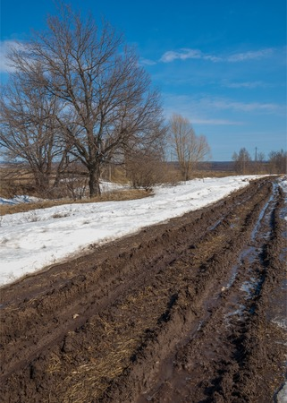 Spring washed out roads. off road. mud on the road Stock Photo