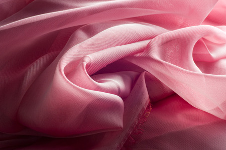 exture, background, pattern. Silk fabric pink, thin airy silk fabric Stock Photo