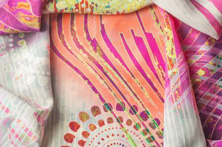 weave: Texture background image, Silk fabric with abstract pattern. Colorful silk fabric close-up Stock Photo