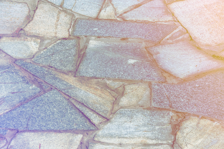 combined: Texture, background, pattern. Mosaic pavement is laid out and cement blocks Stock Photo
