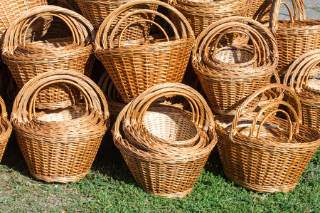 Background texture. Wicker baskets made of willow twigs.  close-up wicker baskets and other items made from natural materials