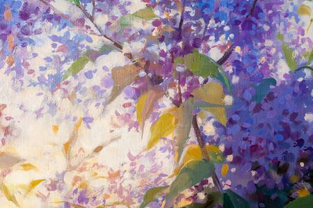 Painting, canvas, painted in oil paints. A bush of lilac at sunrise. Sunset
