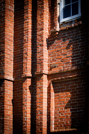 Texture, background, pattern, old wall of brickwork. red brick wall texture grunge background with vignetted corners, may use to interior design Stock Photo