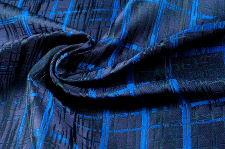 Texture, fabric, background. Woolen cloth. Dark blue stripes. Black Stripes Stock Photo