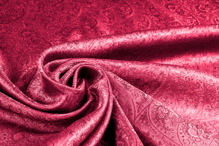 Background texture, pattern. Red Paisley Silk indian fabric - achat tissu paisley. Soft, smooth, non-stretch, non-sheer.