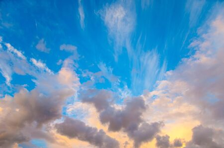 Texture, background, pattern. Clouds at sunset (dawn) pastel colors beautiful paints
