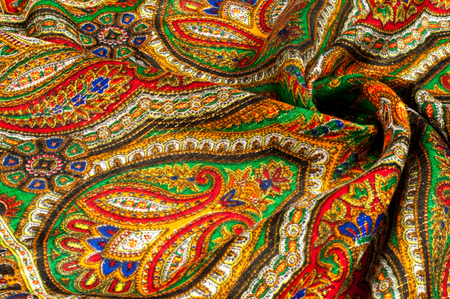 Texture, background, pattern. Womans headscarf, shawl. Bright colors. Paisley. Indian themes. Fabric for clothes Fabric 100% silk. One Fashion Soft Womens Shawl Red Georgette Female Swarf