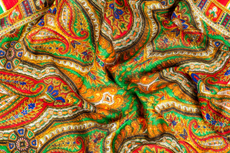 indian teenager: Texture, background, pattern. Womans headscarf, shawl. Bright colors. Paisley. Indian themes. Fabric for clothes Fabric 100% silk. One Fashion Soft Womens Shawl Red Georgette Female Swarf