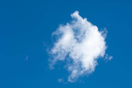 Texture, background, pattern. Cumulus clouds in the blue sky.  Stock Photo