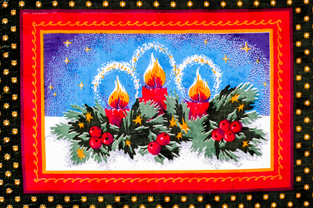 texture, pattern. fabric Christmas cards. Prepare for one of the most festive events of the year. Made from basic cotton, here is riveted festive material, consisting of poinsettia, ornaments