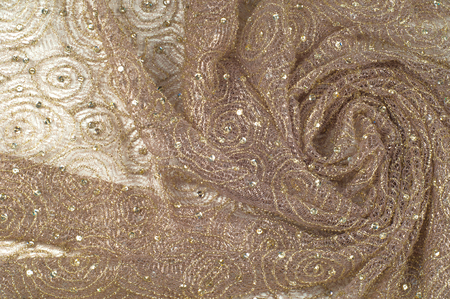 Texture, background, pattern. Lace fabric beige gold with sparkles. Amazing shimmery floral lace in antique toffee color with gold metallic thread in the spirit of Edwardian era.